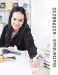 young teenage girl getting... | Shutterstock . vector #615968210