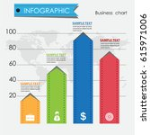 colorful business chart ... | Shutterstock .eps vector #615971006