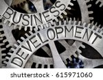 Small photo of Macro photo of tooth wheel mechanism with BUSINESS DEVELOPMENT concept letters