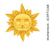 golden sun face antique crown... | Shutterstock .eps vector #615971168