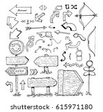 set direction arrows by drawing | Shutterstock .eps vector #615971180