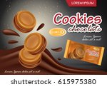 sandwich chocolate cookies... | Shutterstock .eps vector #615975380