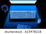 computer keyboard on table... | Shutterstock . vector #615978218
