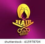 silhouette of a girl retro... | Shutterstock . vector #615978704
