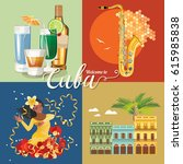 welcome to cuba  travel poster... | Shutterstock .eps vector #615985838