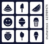 sweet icon. set of 9 filled...   Shutterstock .eps vector #615989474