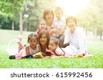 asian multi generations family... | Shutterstock . vector #615992456
