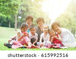 group of asian multi... | Shutterstock . vector #615992516