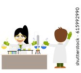 cartoon chemistry concept with... | Shutterstock .eps vector #615992990