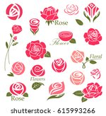 Stock vector set of rose flower design elements 615993266