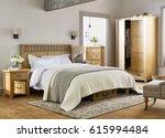 modern bedroom in luxury... | Shutterstock . vector #615994484