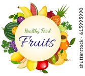 fresh organic food  healthy... | Shutterstock .eps vector #615995990