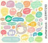 set of hand drawn speech and... | Shutterstock .eps vector #615997250
