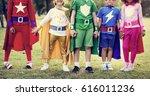 kids wear superhero costume... | Shutterstock . vector #616011236