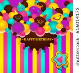 greeting card with birthday... | Shutterstock .eps vector #616014173