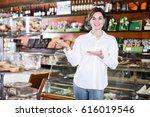 female shopping assistant... | Shutterstock . vector #616019546