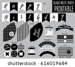 printable set. black and white... | Shutterstock .eps vector #616019684
