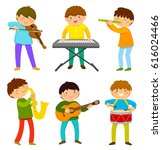 set of kids playing musical... | Shutterstock . vector #616024466