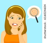 unhappy girl with pimples on... | Shutterstock . vector #616024604