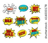 sale cartoon vector set. big ... | Shutterstock .eps vector #616033178