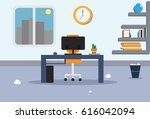 illustration of office with a... | Shutterstock . vector #616042094
