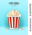 popcorn in in striped box ... | Shutterstock .eps vector #616043930
