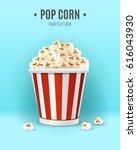 popcorn in in striped box ... | Shutterstock .eps vector #616043930