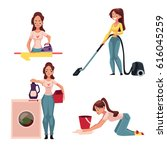 young woman  housewife doing... | Shutterstock .eps vector #616045259