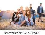 teenagers at summer music... | Shutterstock . vector #616049300