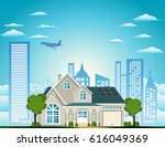 the lovely suburban house... | Shutterstock .eps vector #616049369