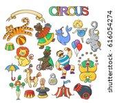 circus cartoon icons collection ... | Shutterstock .eps vector #616054274