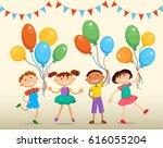 school children are jumping... | Shutterstock . vector #616055204
