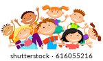 group of children kids are... | Shutterstock . vector #616055216
