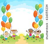 children are jumping ob summer... | Shutterstock . vector #616055234