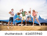teenagers at summer music... | Shutterstock . vector #616055960