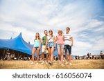 teenagers at summer music... | Shutterstock . vector #616056074
