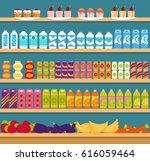 supermarket shelves with... | Shutterstock .eps vector #616059464