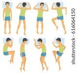 person sleep positioning  man... | Shutterstock .eps vector #616064150