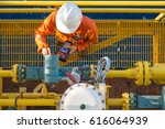 offshore oil rig worker... | Shutterstock . vector #616064939