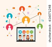 social network communication in ... | Shutterstock .eps vector #616071248