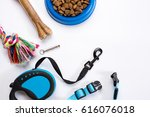 Stock photo collar blue bowl with feed leash and delicacy for dogs isolated on white background 616076018