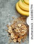 muesli with banana. breakfast | Shutterstock . vector #616080794