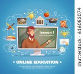 online education design concept ... | Shutterstock .eps vector #616083074