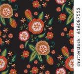 embroidery flower design... | Shutterstock .eps vector #616087553