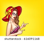 vector pop art pin up... | Shutterstock .eps vector #616091168