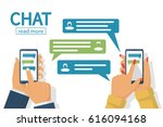 chat concept. man and female... | Shutterstock .eps vector #616094168
