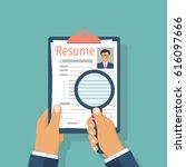 resumes in hand. cv application.... | Shutterstock .eps vector #616097666