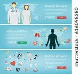medical banners set. healthcare ... | Shutterstock .eps vector #616098380