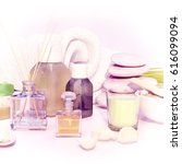 spa products on light wooden...   Shutterstock . vector #616099094