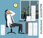 overworked and tired... | Shutterstock . vector #616100798